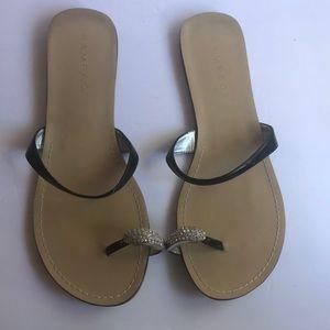Rampage Blk Patent Leather & Rhinestone Sandal 10